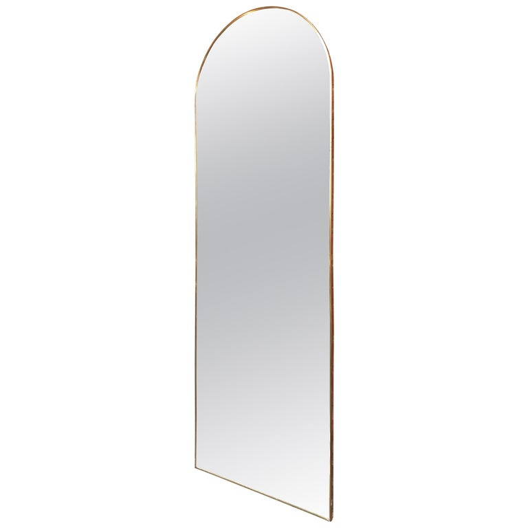 Italian Vintage Arched Shaped Brass Wall Mirror, 1950s For Sale