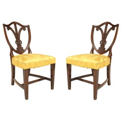 Pair of English Hepplewhite Style '19th Century' Carved Shield Back Side Chairs