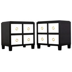 Pair of Modern Parchment Black and White Lacquered Nightstands