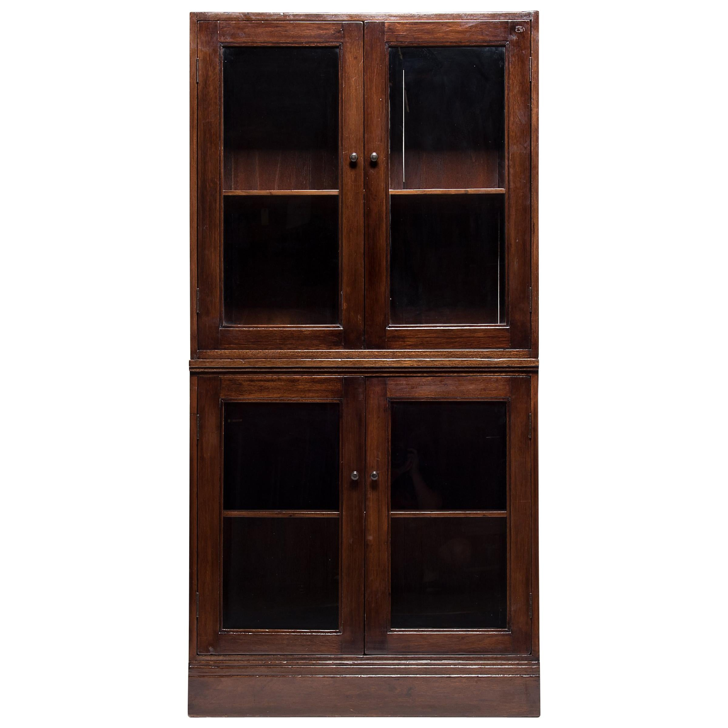 Early 20th Century Chinese Colonial Glass Cabinet For Sale Glass Cabinet For Sale V62