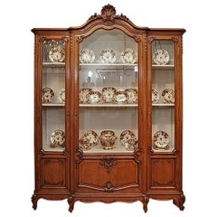 Antique French Beautifully Carved Oak Louis XV Style Display Cabinet
