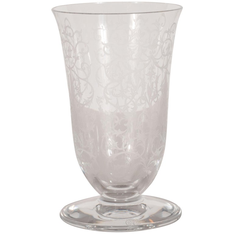 French Mid Century Modern Foliate Etched Crystal Vase By Baccarat