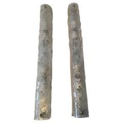 Pair of German Ice Glass Hillebrand Vanity Sconces