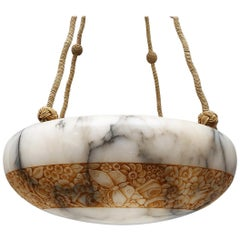 French Art Deco Alabaster Chandelier