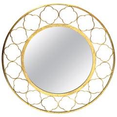 Midcentury Style Round Gilt Metal Mirror with Quatrefoil Motif