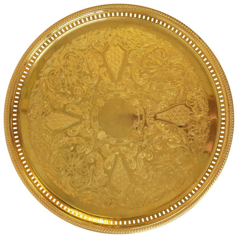 Round Gold Serving Tray