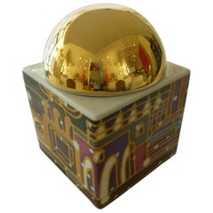 Hallmarked German Porcelain Gold-Plated Dome Box