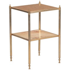 French Midcentury Two-Tier Brass Side Table with Onyx Tops