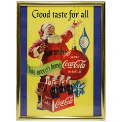 1954 Original Coca-Cola Cardboard Santa Advertising Sign Framed