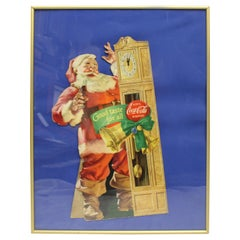 1954 Original Coca-Cola Santa Cardboard Cut-Out Advertising Framed
