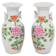 Pair of Early 20th Century Chinese Peony Fantail Vases