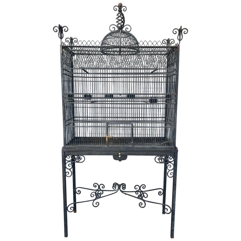Monumental Victorian Style Antique Brass, Painted Bird Iron Bird Cage For Sale