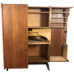 "Desk in a Box, ""Magic Box"" Danish Teak Work Station by Mummenthaler and Meier"