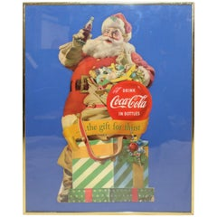 1953 Original Coca-Cola Santa Cardboard Cutout Advertising Framed