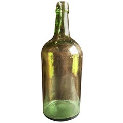Large Green Blown Glass Bottle, 19th Century
