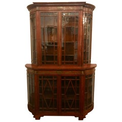 Antique English Edwardian Satinwood Display Cabinet, circa 1890