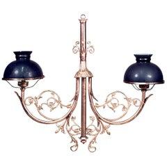 French Victorian Bronze Dore Scroll design Billiard Fixture