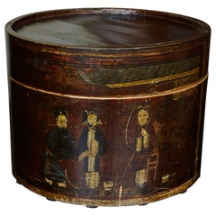 Late 19th Century Chinese Hand-Painted Round Wooden Hat Box