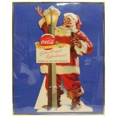 1955 Original Coca-Cola Santa Cardboard Cut-Out Advertising Framed