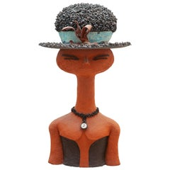 Large Ceramic Girl with Blue Hat, Created in Belgium, 1960s