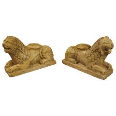 Pair of Small 16th Century Style Italian Giallo Reale Marble Lions