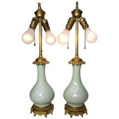 Pair of 19th-20th Century Pâte-sur-Pâte Porcelain and Gilt-Bronze Table Lamp
