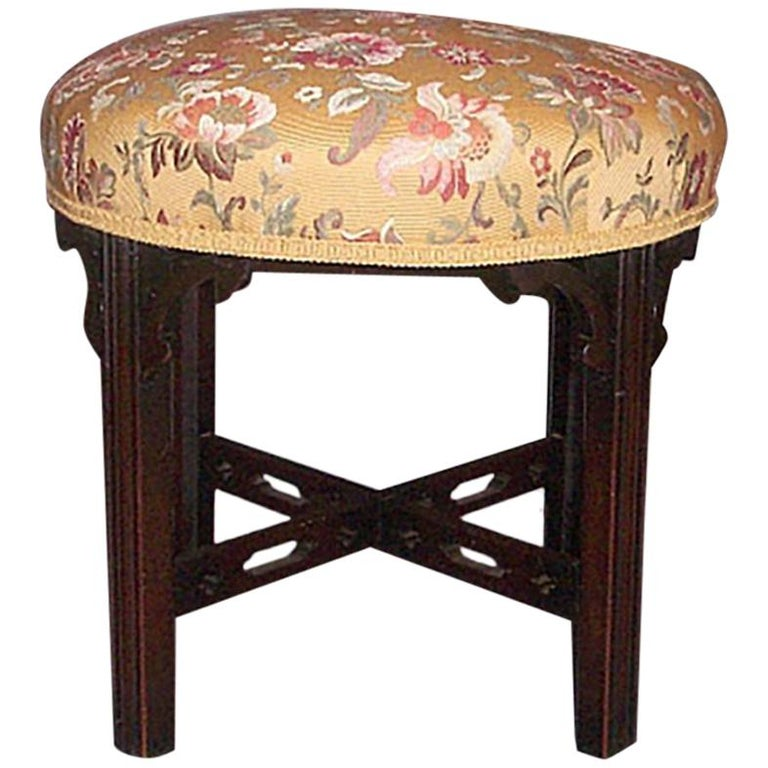 Antique 19th Century Round Chippendale Style Mahogany Bench