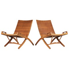 Hans Wegner Cane and Oak Folding Chairs for Johannes Hansen of Denmark