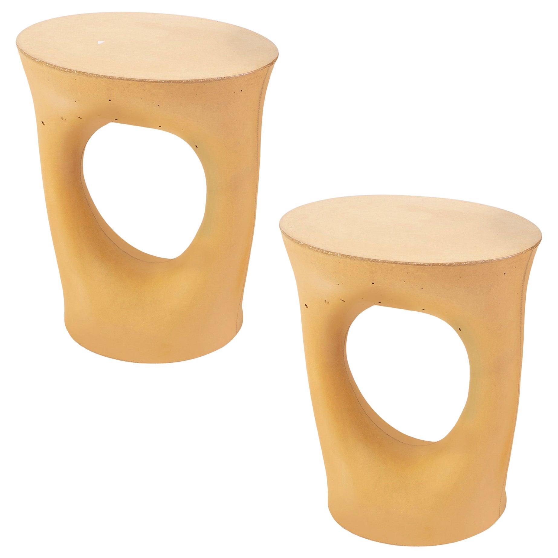 Pair of Short Mustard Kreten Side Tables from Souda, Made to Order