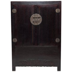 19th Century Chinese Crackle Lacquered Cabinet