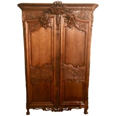 Antique French 18th Century Carved Oak Armoire, circa 1760-1780