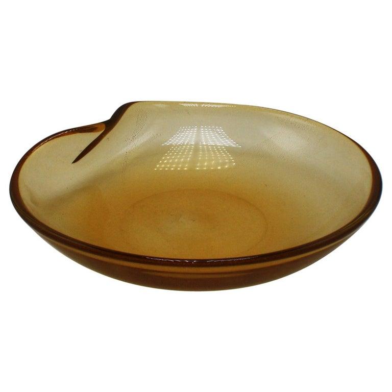Gold Aventurine Murano glass bowl, circa 1960 For Sale