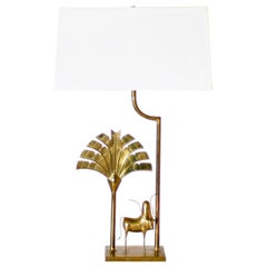 Brass Lamp with Brass African Cow Detail, circa 1970