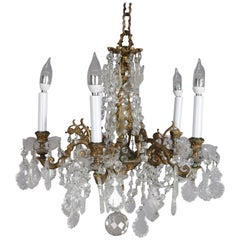 Antique French Gilt Bronze Foliate and Cut Crystal Five-Light Chandelier