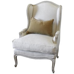 Vintage French Provincial Wingback Style Chair Upholstered in Natural Linen