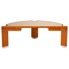 "Custom Lacewood ""Mezzaluna"" Desk by Pace Collection"