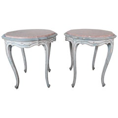 Pair of French Louis XV Style Painted Tables with Marble Tops