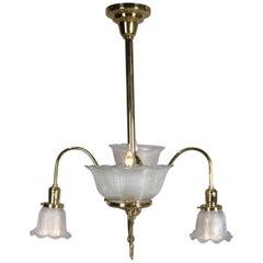 Antique Victorian Brass Gas Conversion Style Up & Down Five-Light Chandelier