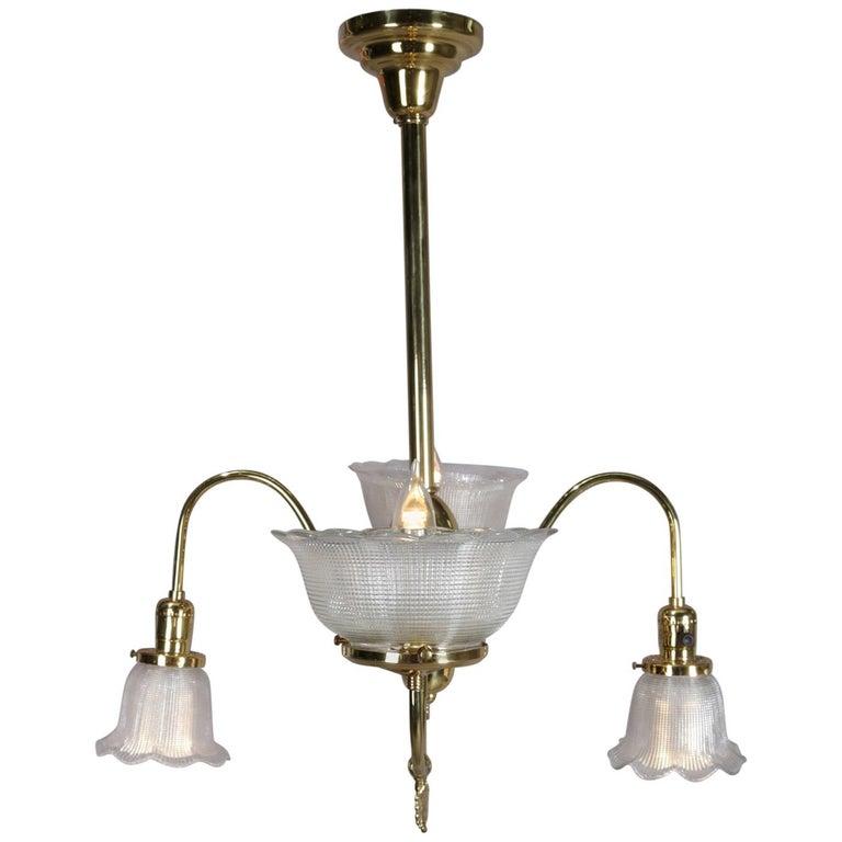 Antique Victorian Brass Gas Conversion Style Up Down Five Light Chandelier