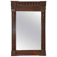 Antique Hand-Carved Wood Mirror with Classical Details