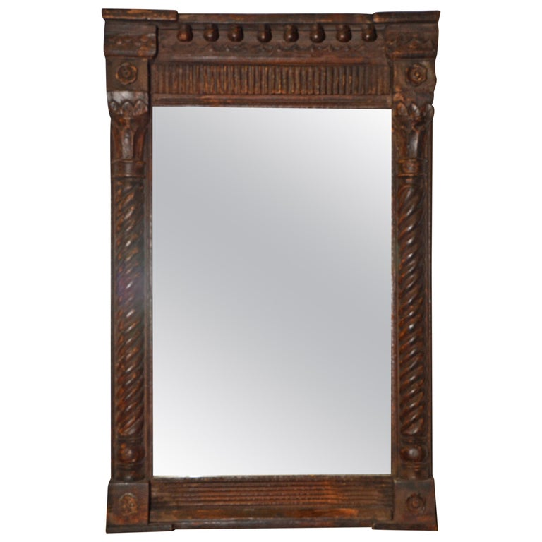 Antique Hand Carved Wood Mirror With Clical Details For
