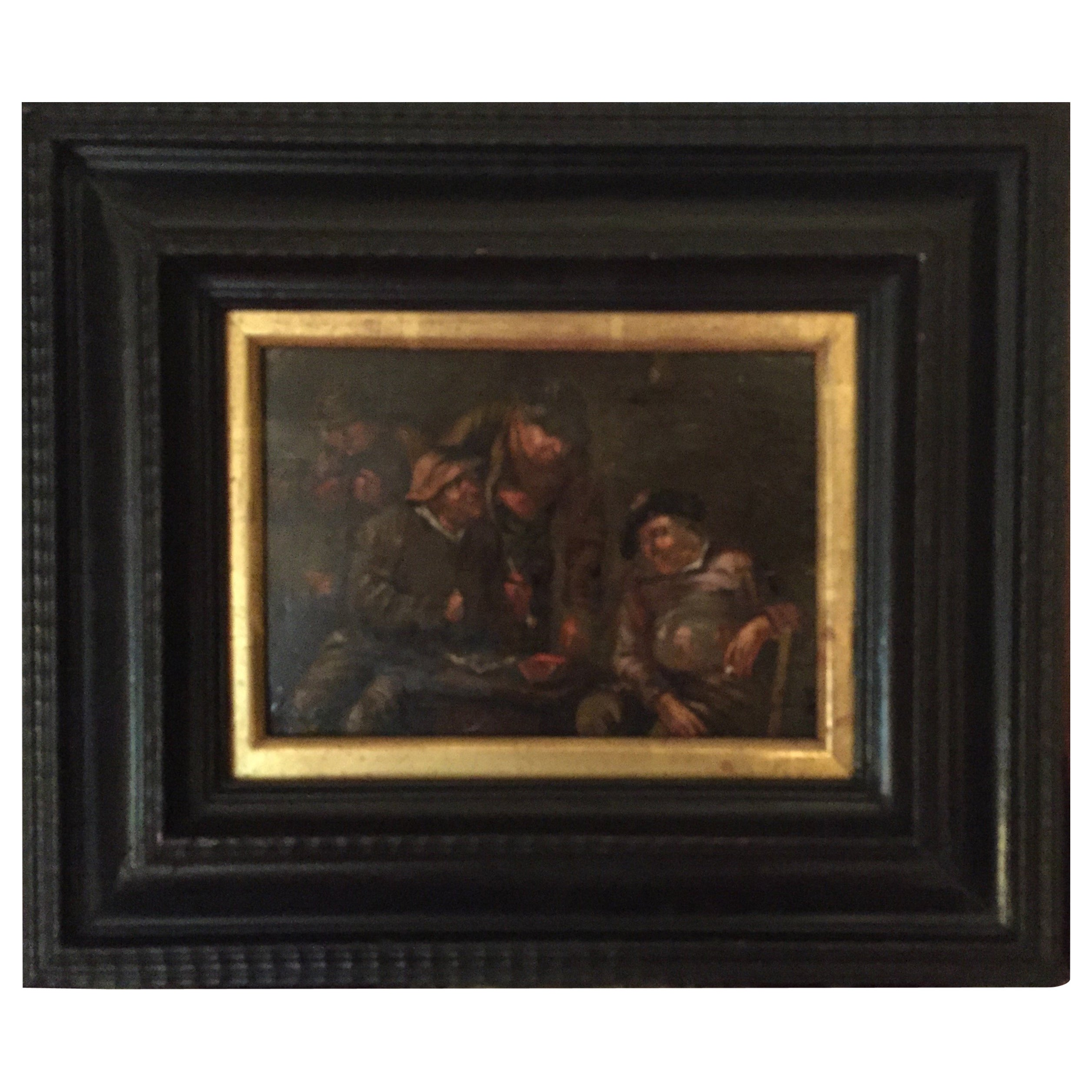 17th Century Dutch Oil Painting, Attributed Adriaen Van Ostade Framed