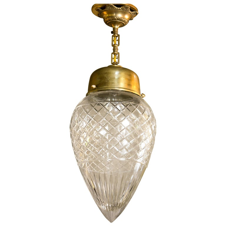 Antique Cut Glass Pendant or Flush Mount Light with Burnished Brass Hardware