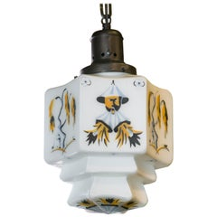 Charming Hand-Painted Milk Glass Chinoiserie Pendant with an Art Deco Influence