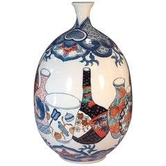 Japanese Imari Hand-Painted Decorative Porcelain Vase by Master Artist