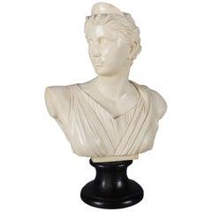 Italian Portrait Sculpture of Classical Artemis Signed A. Santini, Resin