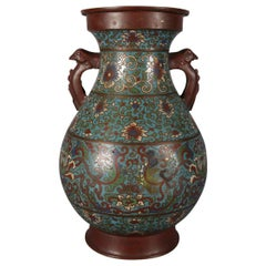 Antique Chinese Cloisonne Enamel Bronze Floral and Scroll Double Handle Urn