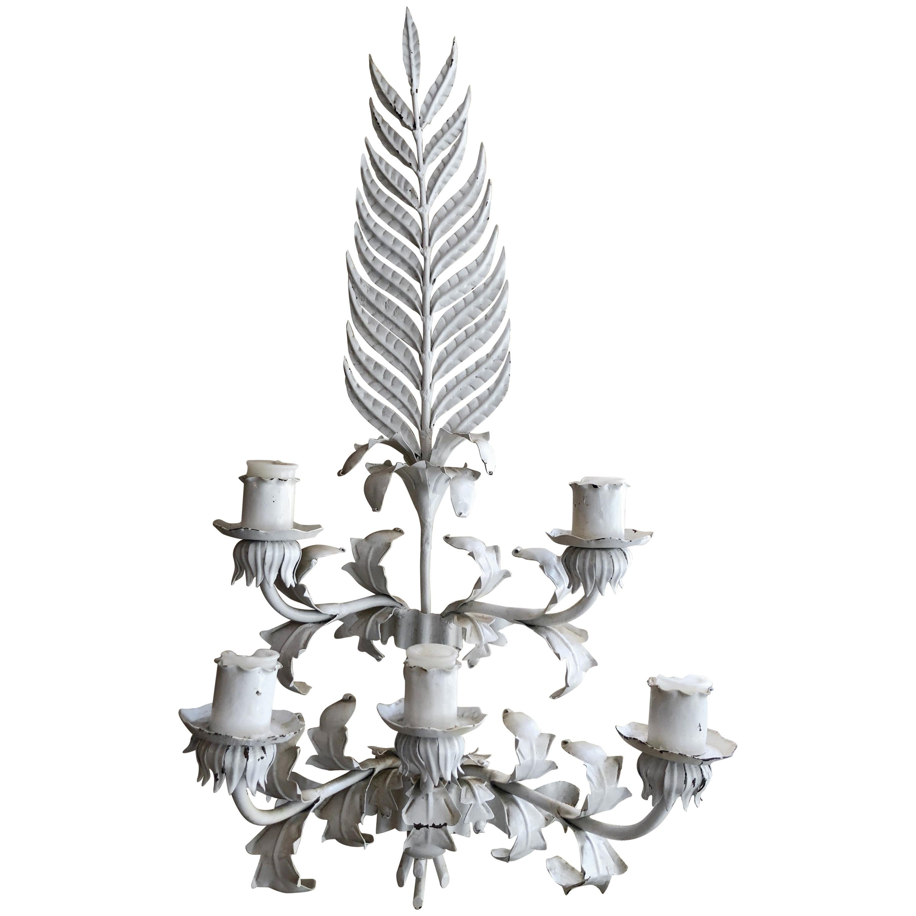 Huge White Hollywood Regency Iron wall Sconce