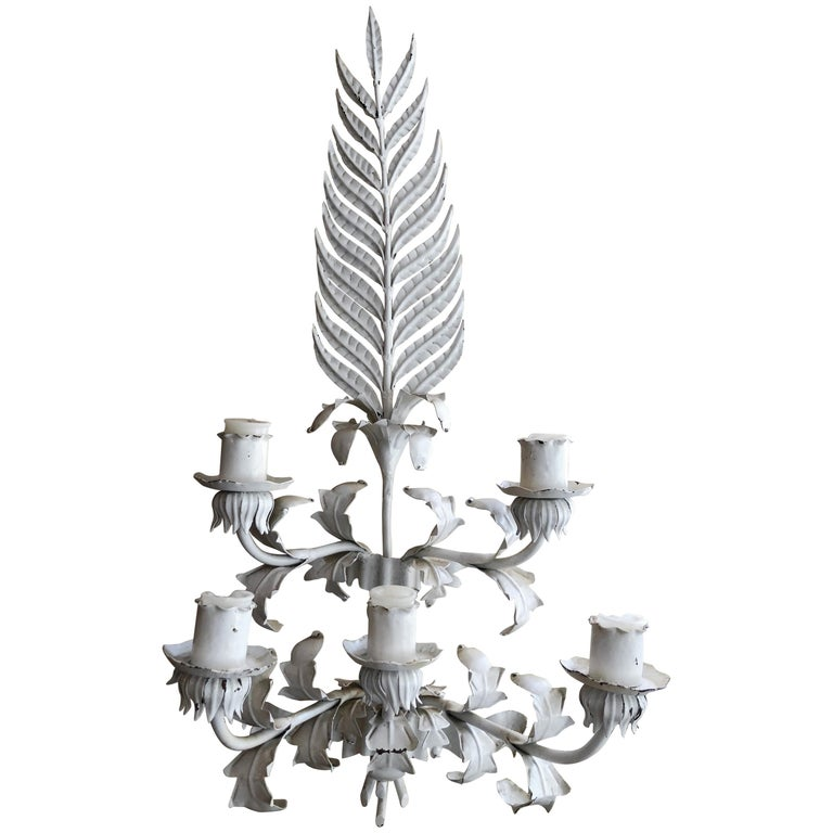 Huge White Hollywood Regency Iron wall Sconce For Sale