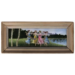 """Antique Classical Greek Enamel on Copper Painting """"Dancing Muses"""", 19th Century"""